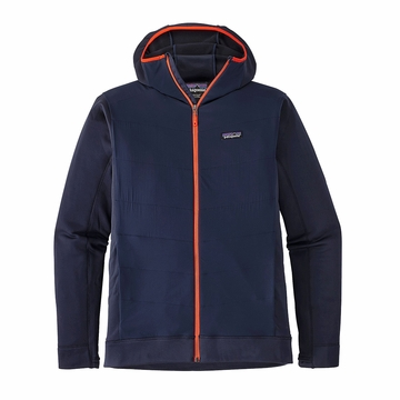 Patagonia Mens Crosstek Fleece Hybrid Hoody Navy Blue