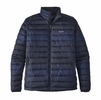 Patagonia Mens Down Sweater Jacket Distressed Stripe/ Navy Blue