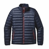 Patagonia Mens Down Sweater Jacket Navy w/ Ramble Red