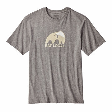 Patagonia Mens Eat Local Upstream Cotton T-Shirt Gravel Heather