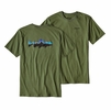 Patagonia Mens Fitz Roy Trout Cotton T-Shirt Buffalo Green