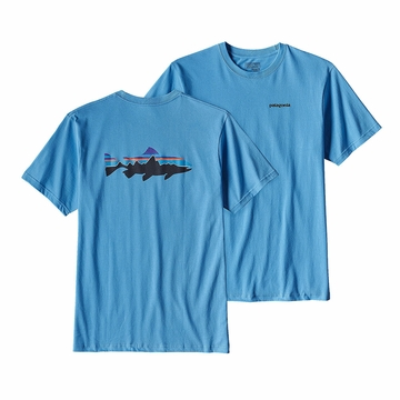 Patagonia Mens Fitz Roy Trout Cotton T-Shirt Radar Blue