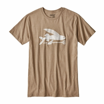 Patagonia Mens Flying Fish Cotton Poly T Shirt Mojave Khaki