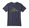 Patagonia Mens Flying Fish Cotton Poly T Shirt Navy Blue w/ Ash Tan