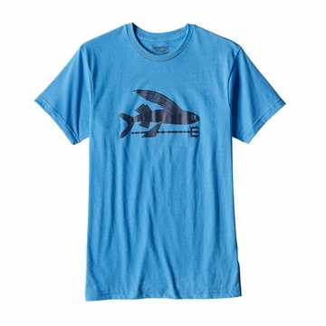 Patagonia Mens Flying Fish Cotton/ Poly T-Shirt Radar Blue