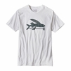 Patagonia Mens Flying Fish Cotton/ Poly T-Shirt White w/ Smolder Blue