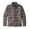 Patagonia Mens Insulated Fjord Flannel Jacket Migration Plaid: Forge Grey