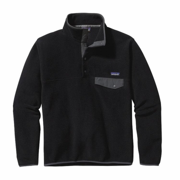 Patagonia Mens Lightweight Synchilla Snap-T Fleece Pullover Black w/ Forge Grey