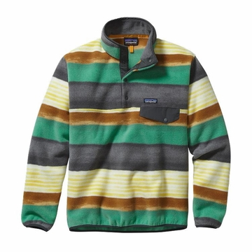 Patagonia Mens Lightweight Synchilla Snap-T Fleece Pullover Painted Fitz Stripe: Forge Grey