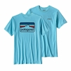 Patagonia Mens Line Logo Badge Cotton/Poly Responsibili-Tee Cuban Blue