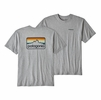 Patagonia Mens Line Logo Badge Cotton/Poly Responsibili-Tee Drifter Grey w/ Smolder Blue