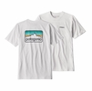 Patagonia Mens Line Logo Badge Cotton/Poly Responsibili-Tee White w/ Dolomite Blue