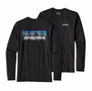 Patagonia Mens Long-Sleeved P-6 Logo Cotton T-Shirt Black