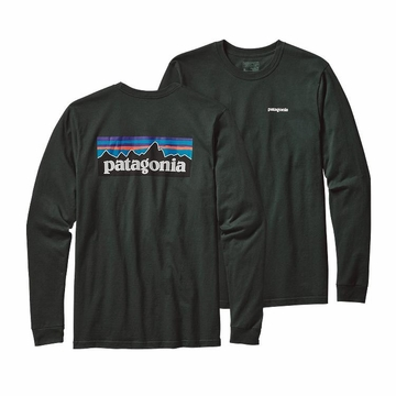 Patagonia Mens Long-Sleeved P-6 Logo Cotton T-Shirt Carbon