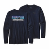 Patagonia Mens Long-Sleeved P-6 Logo Cotton T-Shirt Navy Blue