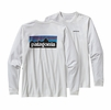 Patagonia Mens Long-Sleeved P-6 Logo Cotton T-Shirt White