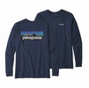 Patagonia Mens Long-Sleeved P-6 Logo Responsibili-Tee Classic Navy (Close Out)