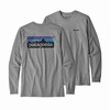 Patagonia Mens Long-Sleeved P-6 Logo Responsibili-Tee Gravel Heather (Close Out)