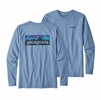 Patagonia Mens Long-Sleeved P-6 Logo Responsibili-Tee Railroad Blue