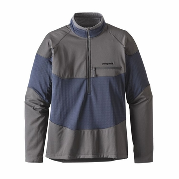 Patagonia Mens Long-Sleeved R1 Field 1/4-Zip Smolder Blue (close out)