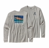 Patagonia Mens Long-Sleeved World Trout Slurped Cotton T-Shirt Tailored Grey
