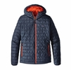 Patagonia Mens Nano Puff Hoody Navy Blue/ Paintbrush Red