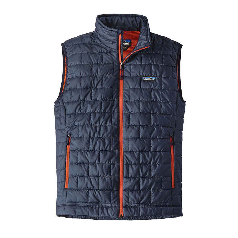 Patagonia Mens Nano Puff Vest Navy Blue Paintbrush Red