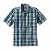 Patagonia Mens Puckerware Shirt Transom: Big Sur Blue