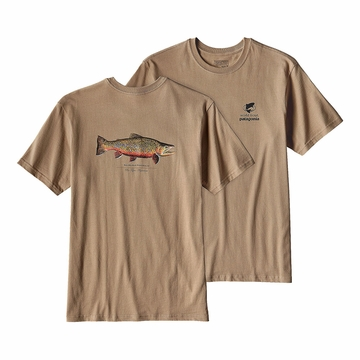 Patagonia Mens World Trout Rio Tigre Cotton T-Shirt Mojave Khaki