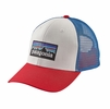 Patagonia P-6 Trucker Hat White/ Fire/ Andes Blue