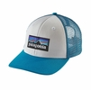 Patagonia P-6 Trucker Hat White w/ Grecian Blue