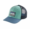 Patagonia Shop Sticker Patch LoPro Trucker Hat Bend Blue