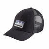 Patagonia Shop Sticker Patch LoPro Trucker Hat Black
