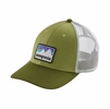 Patagonia Shop Sticker Patch LoPro Trucker Hat Crag Green