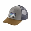 Patagonia Shop Sticker Patch LoPro Trucker Hat Drifter Grey