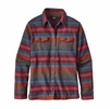 Patagonia Womens Long-Sleeve Fjord Flannel Shirt Blanket Stripe: Roots Red