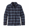 Patagonia Womens Long-Sleeve Fjord Flannel Shirt Boxwood Plaid: Navy Blue