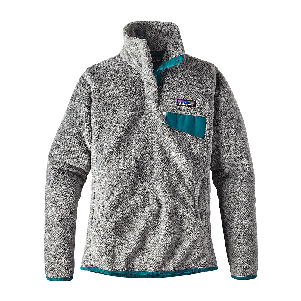 Patagonia Womens Re-Tool Snap-T Fleece Pullover Tailored Grey  Nickel X-Dye  with Elwha Blue 92fdadc67e