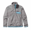 Patagonia Womens Re-Tool Snap-T Fleece Pullover Tailored Grey: Nickel X-Dye w/ Cuban Blue