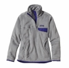 Patagonia Womens Re-Tool Snap-T Fleece Pullover Tailored Grey: Nickel X-Dye w/ Harvest Moon Blue