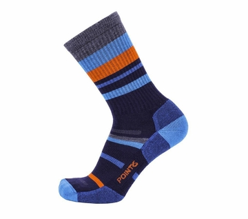 Point6 Hiking Mixed Stripe Light Crew Dark Navy