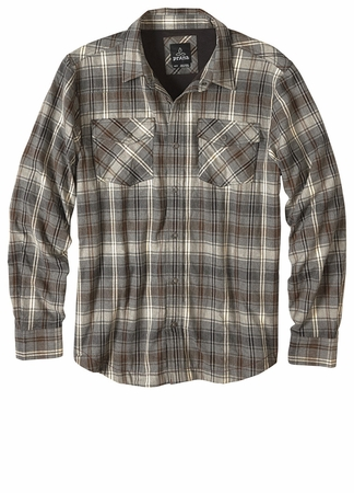 Prana Mens Asylum Flannel Gravel (close out)