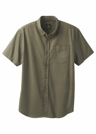 Prana Mens Broderick Solid Short Sleeve Cargo Green