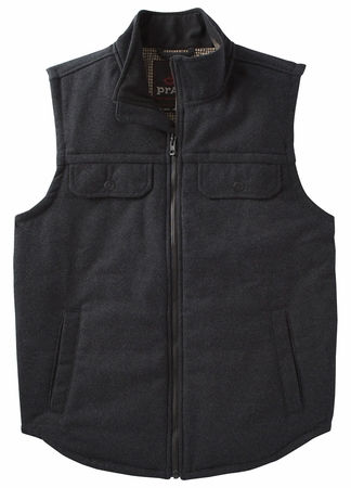 Prana Mens Colewood Wool Vest Black Heather