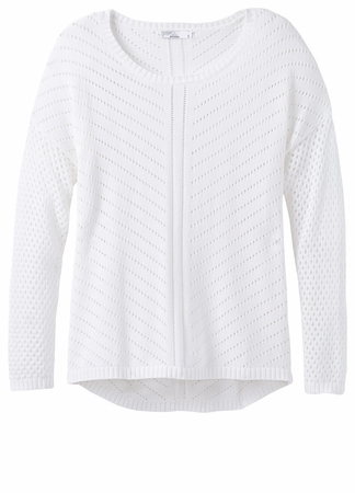 Prana Womens Parker Sweater White  (close out)
