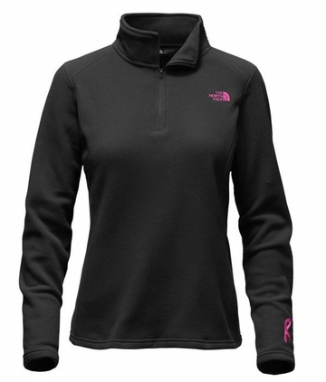 The North Face Womens Pink Ribbon Glacier 1/4 Zip TNF Black/ Meadow Pink
