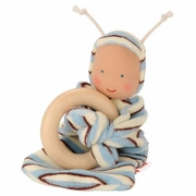 Kathe Kruse Organic Rainbow Baby Nicki Teether - Blue Stripes