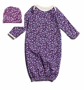Winter Water Factory Baby Set- Leaves and Flowers in Violet