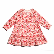 Winter Water Factory Dakota Dress - Birds and Berries in Red and Pink