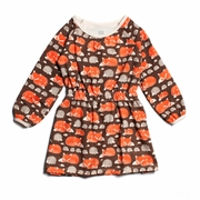 Winter Water Factory Domino Dress- Foxes and Hedgehogs in Brown and Orange